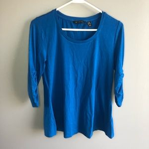 H by Halston Blue Ruched Top